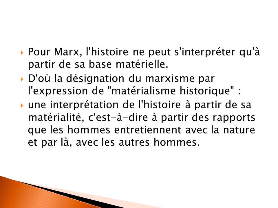  Pour Marx, l'histoire ne peut s'interpréter qu'à partir de sa base matérielle.  D'où la désignation du marxisme par l'expression de