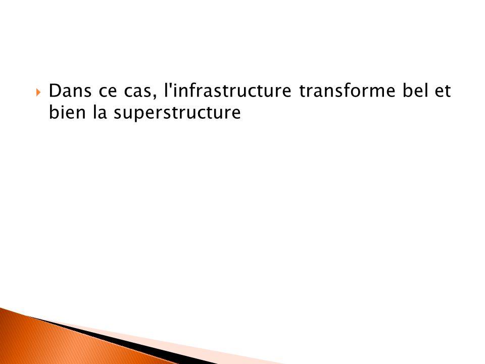  Dans ce cas, l'infrastructure transforme bel et bien la superstructure
