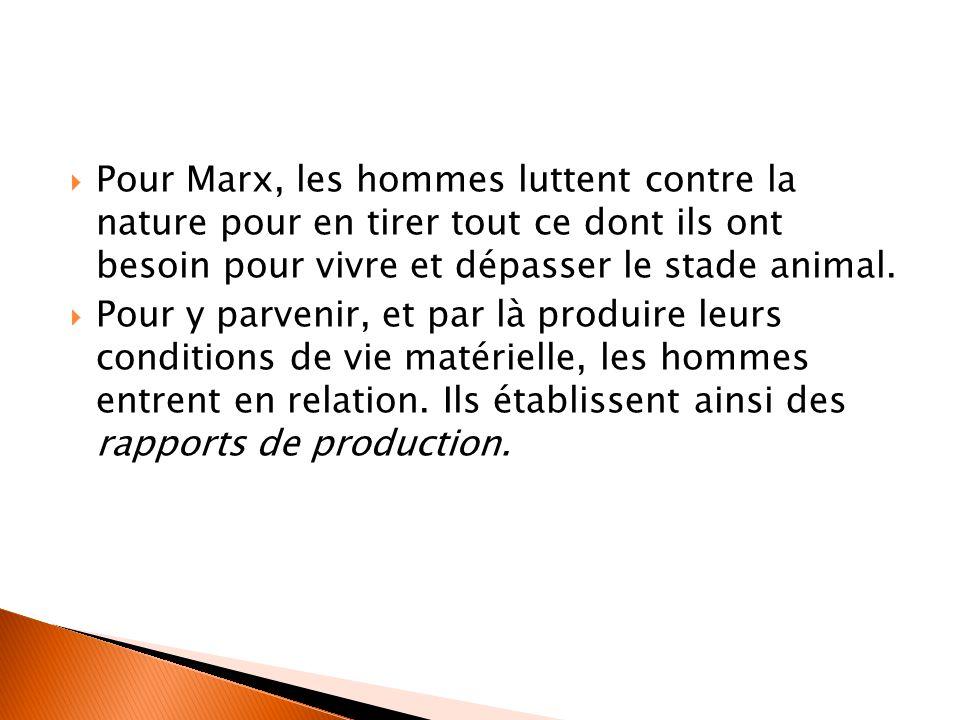  Pour Marx, les hommes luttent contre la nature pour en tirer tout ce dont ils ont besoin pour vivre et dépasser le stade animal.  Pour y parvenir,