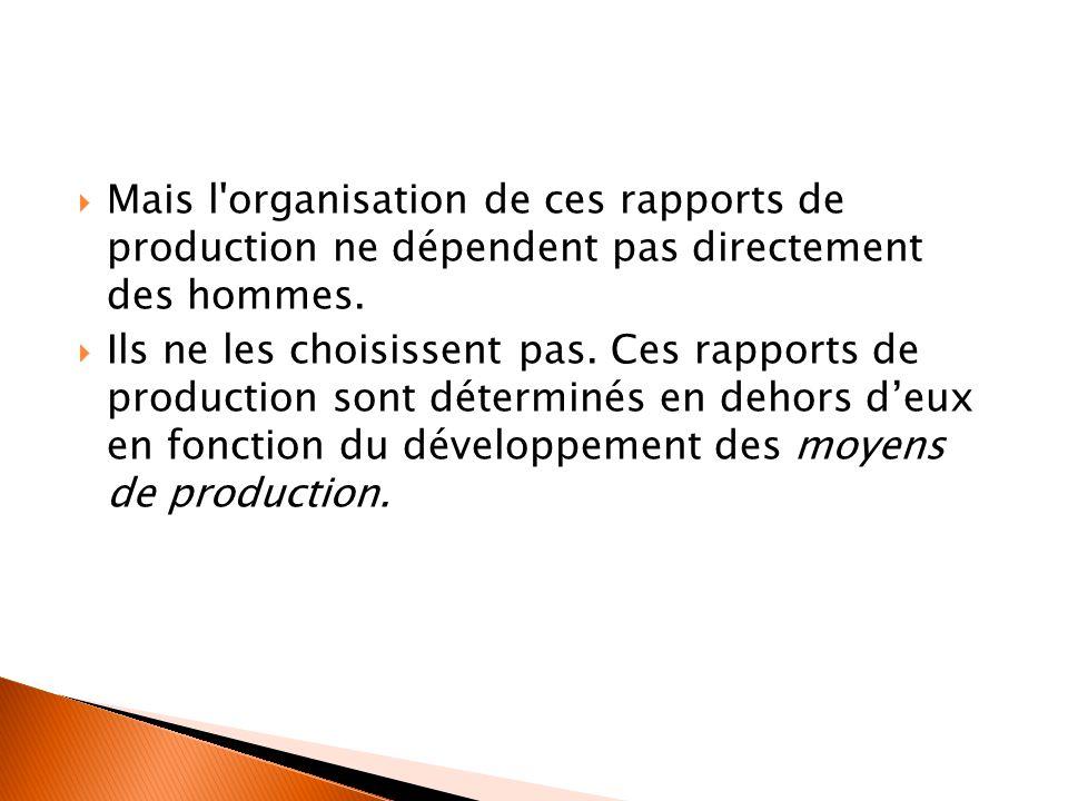  Mais l'organisation de ces rapports de production ne dépendent pas directement des hommes.  Ils ne les choisissent pas. Ces rapports de production
