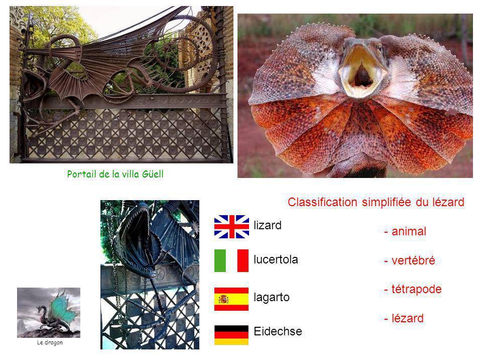 Portail de la villa Güell Classification simplifiée du lézard - animal - vertébré - tétrapode - lézard lucertola lizard lagarto Eidechse Le dragon