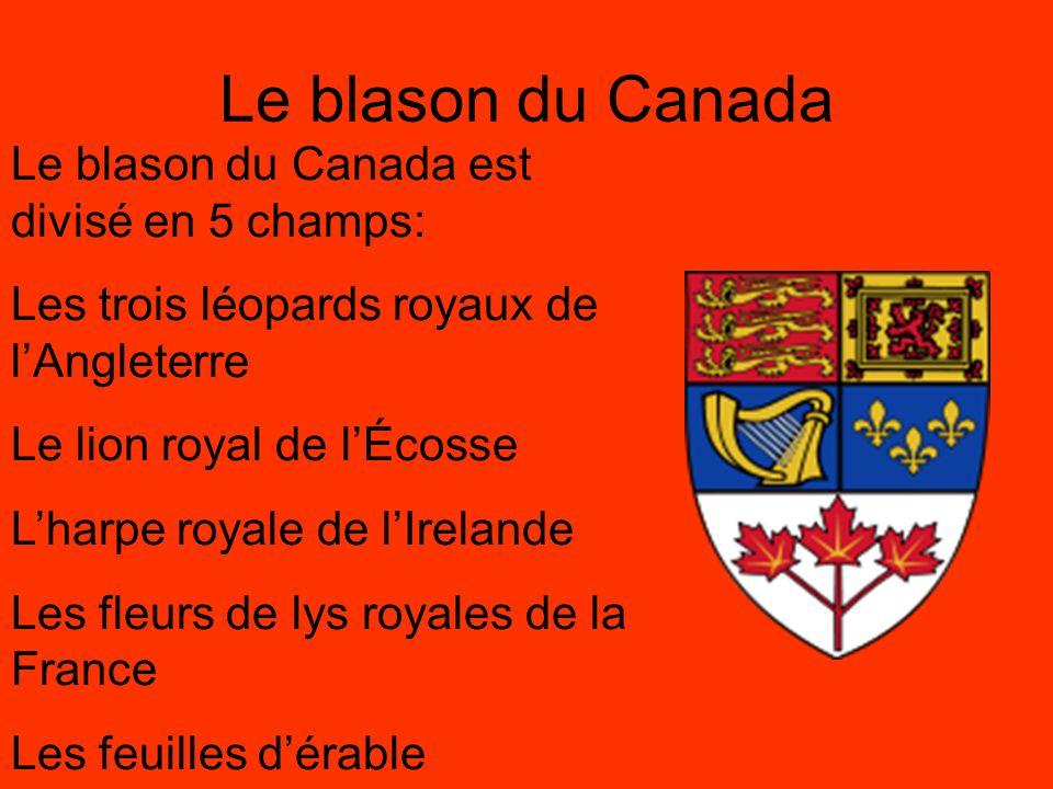 Les armoiries du Canada Les armoiries du Canada ont été proclamés par le roi George V en 1921.