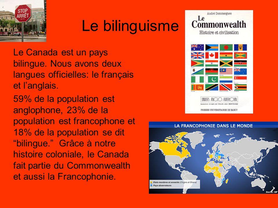 Le bilinguisme Le Canada est un pays bilingue. Nous avons deux langues officielles: le français et l'anglais. 59% de la population est anglophone, 23%