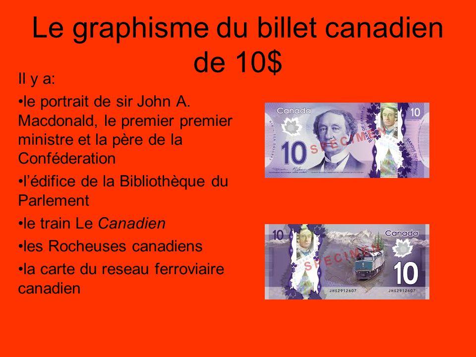 Le graphisme du billet canadien de 20$ Il y a: le portrait de Sa Majesté la reine Elizabeth II la Tour de la Paix le Monument commémoratif du Canada à Vimy (France) le drapeau Canadien les coquelicots