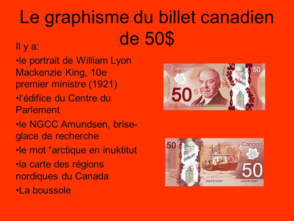 Le graphisme du billet canadien de 100$ Il y a: le portrait de sir Robert L.