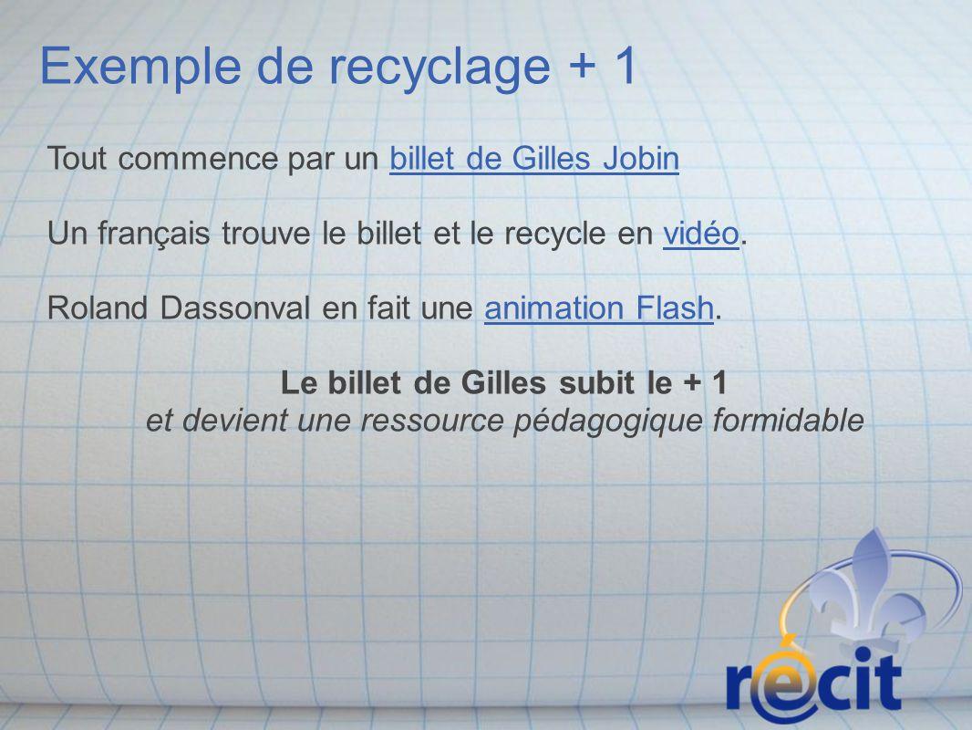 Exemple de recyclage + 1 Tout commence par un billet de Gilles Jobin Un français trouve le billet et le recycle en vidéo. Roland Dassonval en fait une