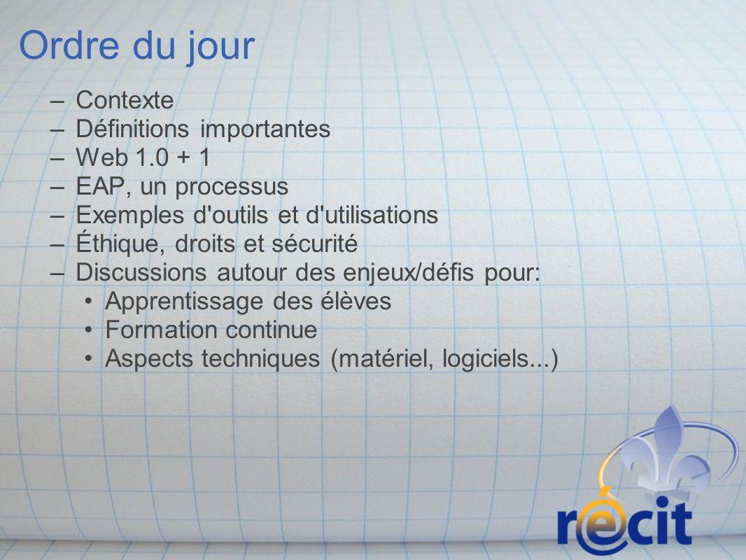 Ordre du jour –Contexte –Définitions importantes –Web 1.0 + 1 –EAP, un processus –Exemples d'outils et d'utilisations –Éthique, droits et sécurité –Di