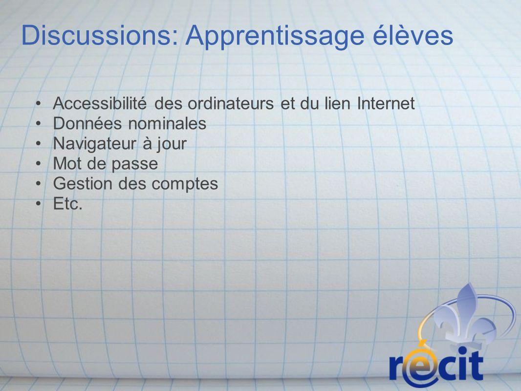 Discussions: Apprentissage élèves Accessibilité des ordinateurs et du lien Internet Données nominales Navigateur à jour Mot de passe Gestion des compt