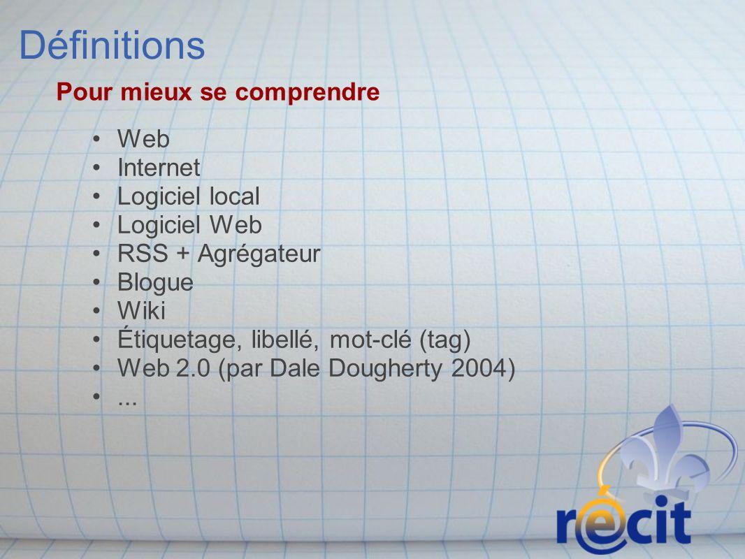 Définitions Web Internet Logiciel local Logiciel Web RSS + Agrégateur Blogue Wiki Étiquetage, libellé, mot-clé (tag) Web 2.0 (par Dale Dougherty 2004