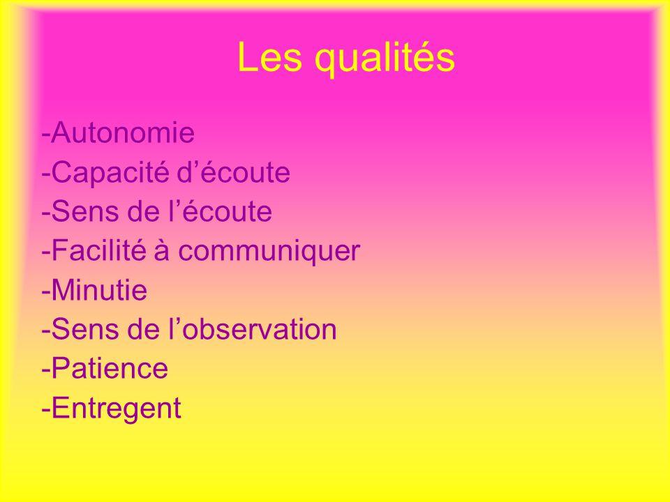 Les qualités -Autonomie -Capacité d'écoute -Sens de l'écoute -Facilité à communiquer -Minutie -Sens de l'observation -Patience -Entregent