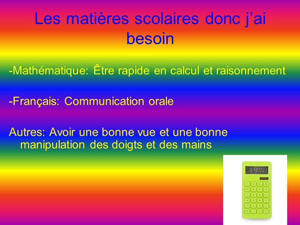 Les matières scolaires donc j'ai besoin -Mathématique: Être rapide en calcul et raisonnement -Français: Communication orale Autres: Avoir une bonne vu
