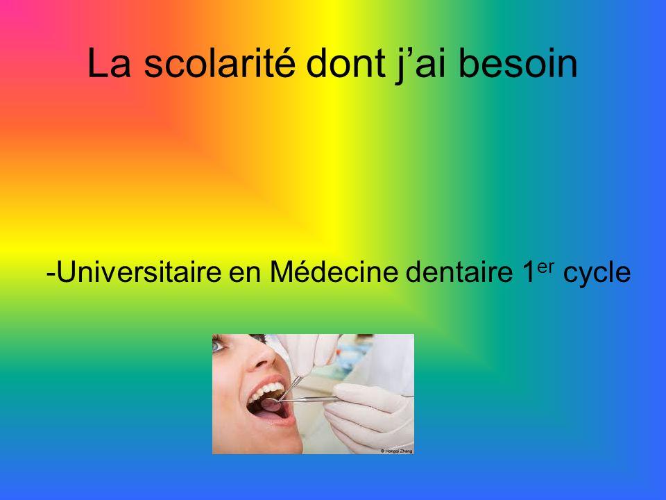 La scolarité dont j'ai besoin -Universitaire en Médecine dentaire 1 er cycle