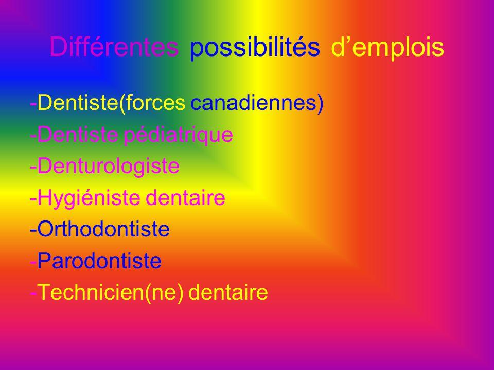 Différentes possibilités d'emplois -Dentiste(forces canadiennes) -Dentiste pédiatrique -Denturologiste -Hygiéniste dentaire -Orthodontiste -Parodontis