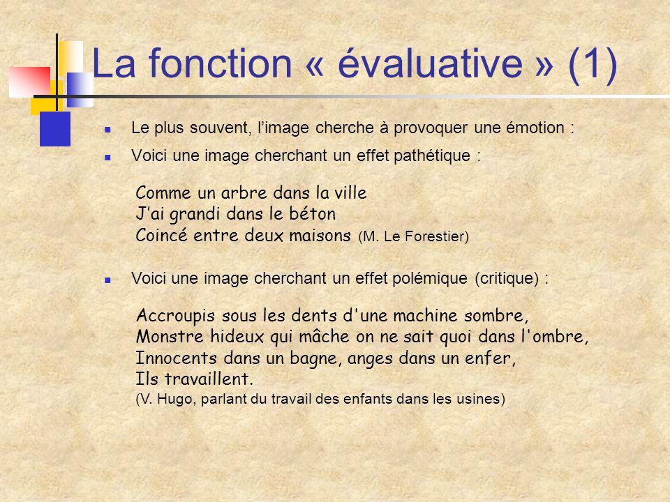 La fonction « évaluative » (1) Le plus souvent, l'image cherche à provoquer une émotion : Voici une image cherchant un effet pathétique : Comme un arb