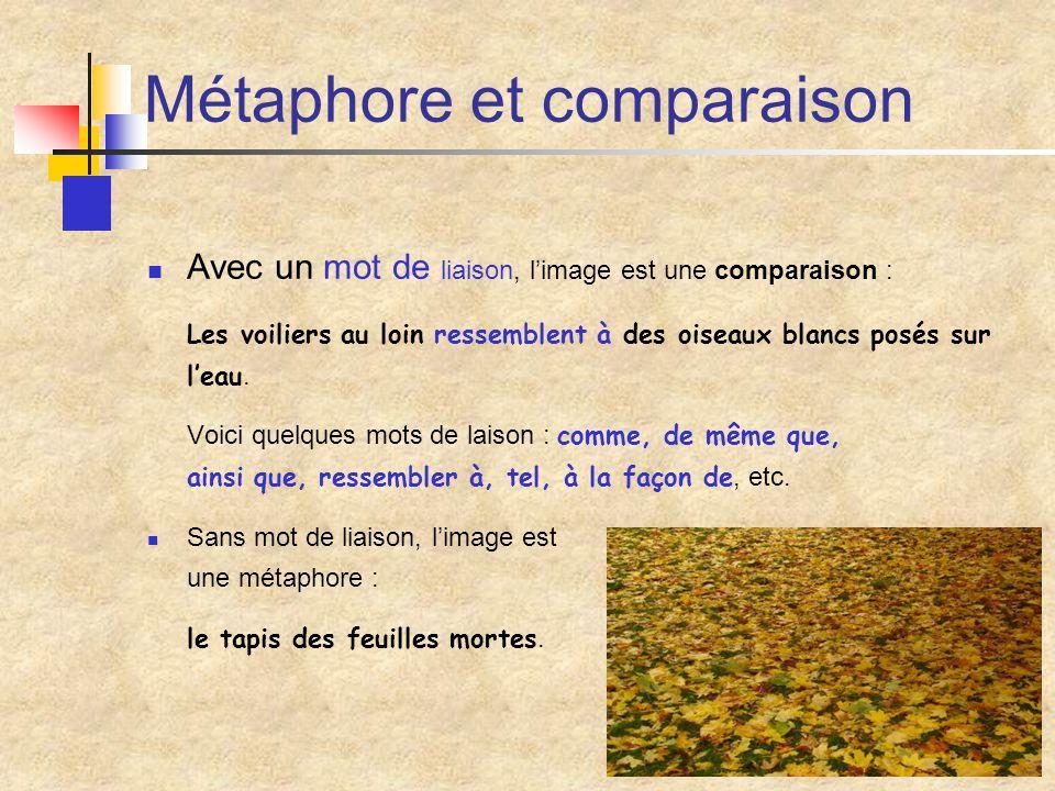 Le comparé et le comparant Le comparé est décrit, le comparant sert à décrire.