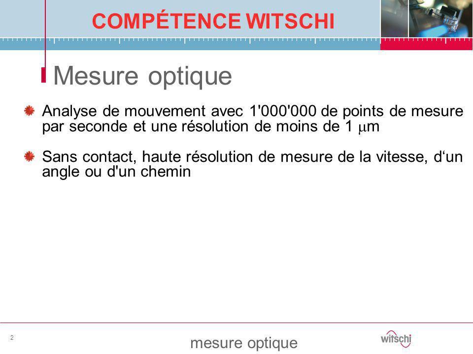 COMPÉTENCE WITSCHI mesure optique 2 Mesure optique Analyse de mouvement avec 1'000'000 de points de mesure par seconde et une résolution de moins de 1