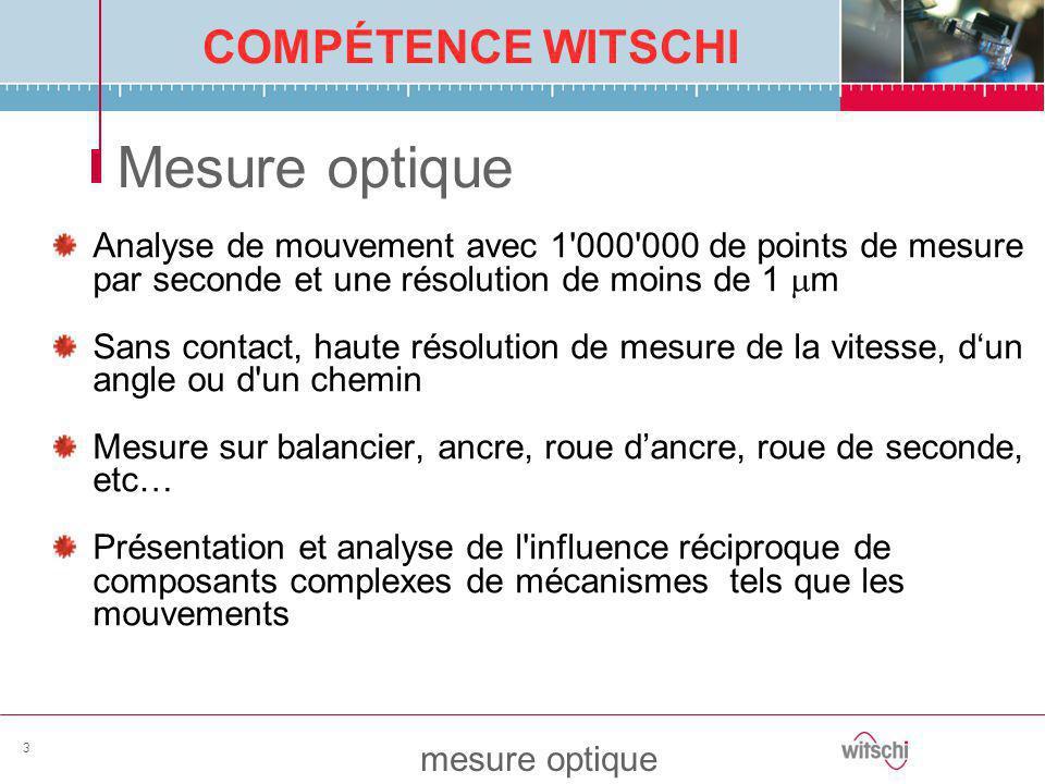 COMPÉTENCE WITSCHI mesure optique 3 Mesure optique Analyse de mouvement avec 1'000'000 de points de mesure par seconde et une résolution de moins de 1