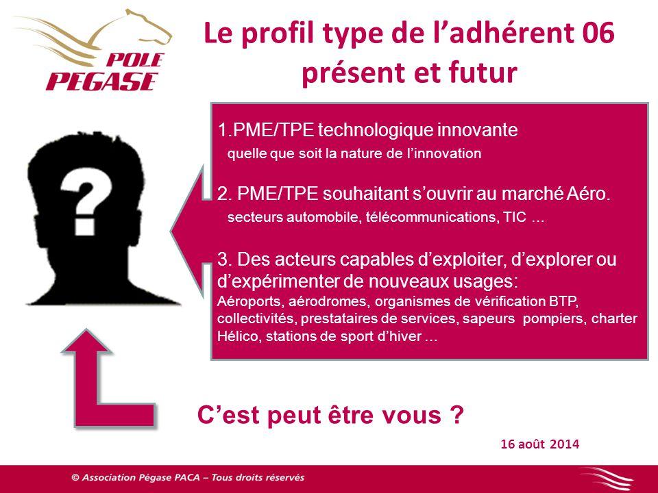 Le profil type de l'adhérent 06 présent et futur 16 août 2014 1.PME/TPE technologique innovante quelle que soit la nature de l'innovation 2.