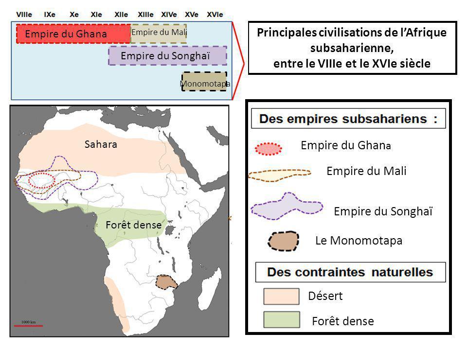 Principales civilisations de l'Afrique subsaharienne, entre le VIIIe et le XVIe siècle Empire du Mali Empire du Ghan a Empire du Songhaï Le Monomotapa