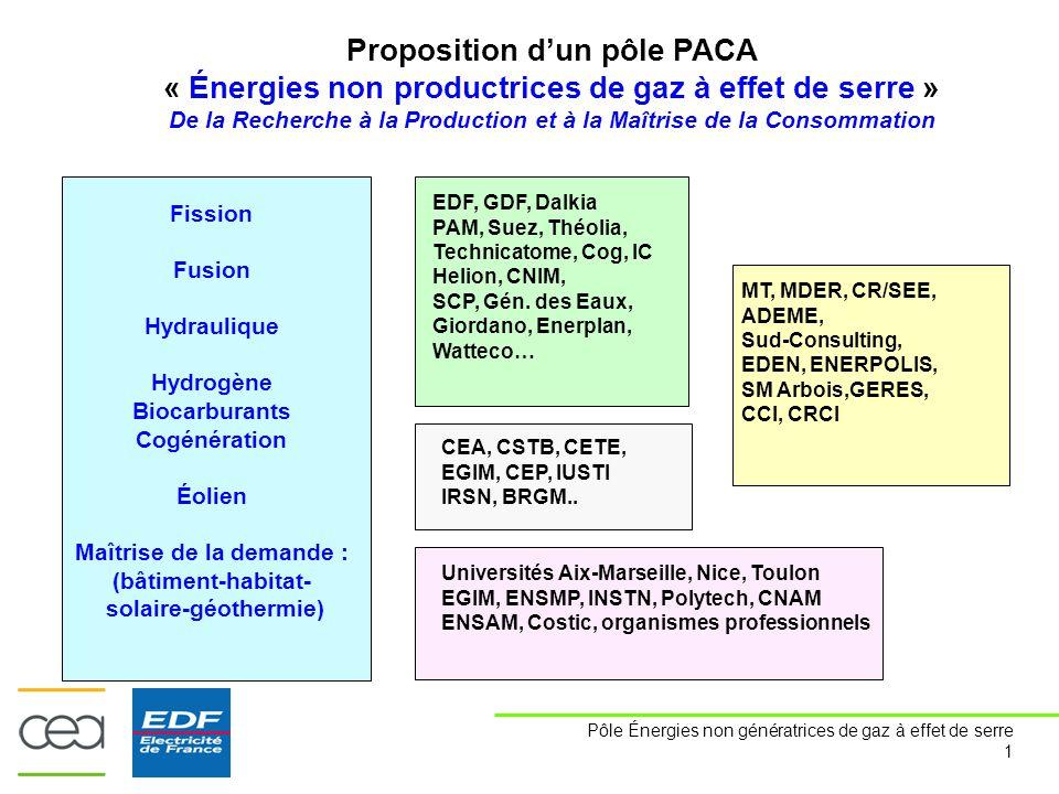 Pôle Énergies non génératrices de gaz à effet de serre 1 Proposition d'un pôle PACA « Énergies non productrices de gaz à effet de serre » De la Recherche à la Production et à la Maîtrise de la Consommation Fission Fusion Hydraulique Hydrogène Biocarburants Cogénération Éolien Maîtrise de la demande : (bâtiment-habitat- solaire-géothermie) EDF, GDF, Dalkia PAM, Suez, Théolia, Technicatome, Cog, IC Helion, CNIM, SCP, Gén.
