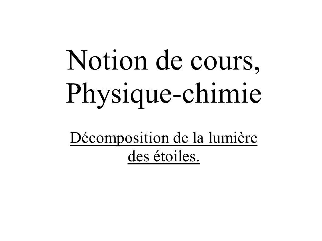 Notion de cours, Physique-chimie Décomposition de la lumière des étoiles.