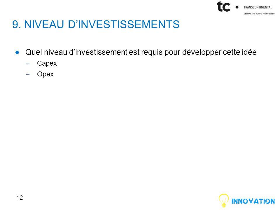9. NIVEAU D'INVESTISSEMENTS Quel niveau d'investissement est requis pour développer cette idée  Capex  Opex 12