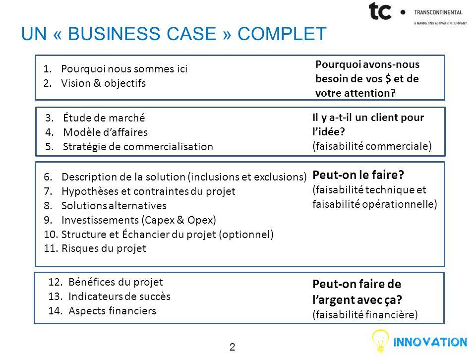 UN « BUSINESS CASE » COMPLET 3.Étude de marché 4.Modèle d'affaires 5.Stratégie de commercialisation 6.Description de la solution (inclusions et exclus