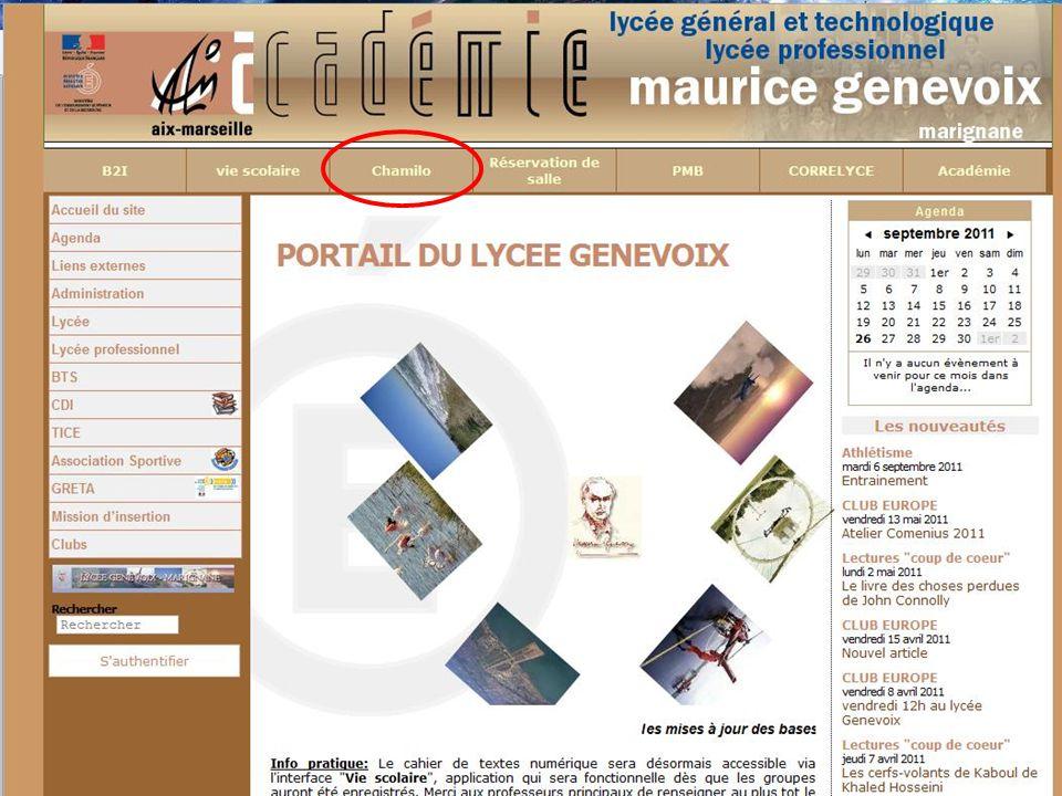 COMMENT ACCEDER A LA PLATEFORME ? 1. Se rendre sur le site du lycée Maurice Genevoix - Marignane 2. Dans la barre de menu horizontal, cliquer sur « CH