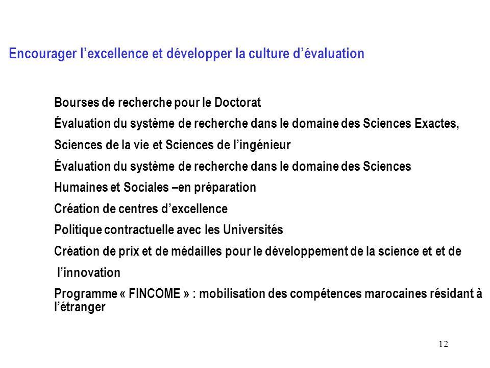 12 Encourager l'excellence et développer la culture d'évaluation Bourses de recherche pour le Doctorat Évaluation du système de recherche dans le doma