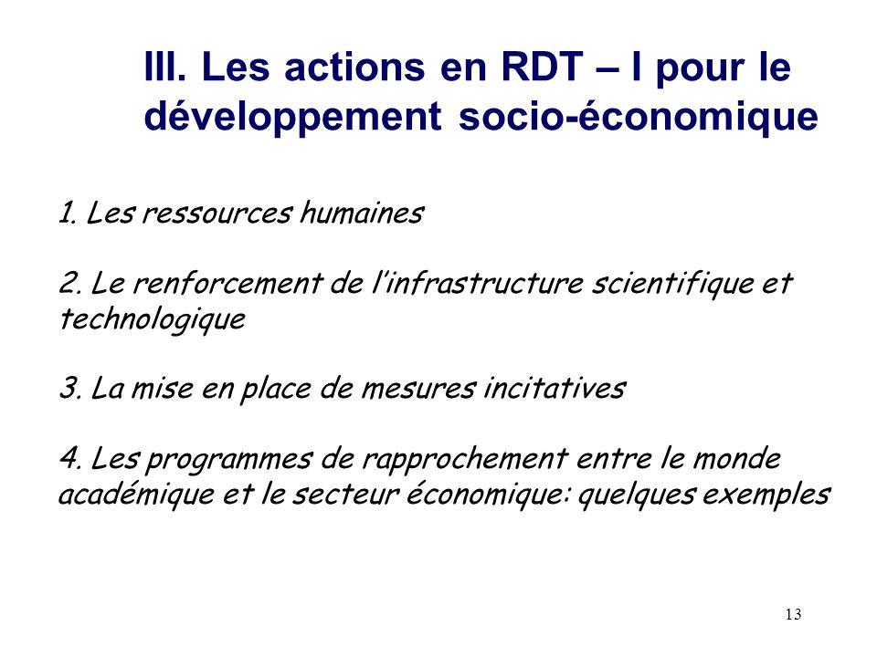 13 III. Les actions en RDT – I pour le développement socio-économique 1. Les ressources humaines 2. Le renforcement de l'infrastructure scientifique e