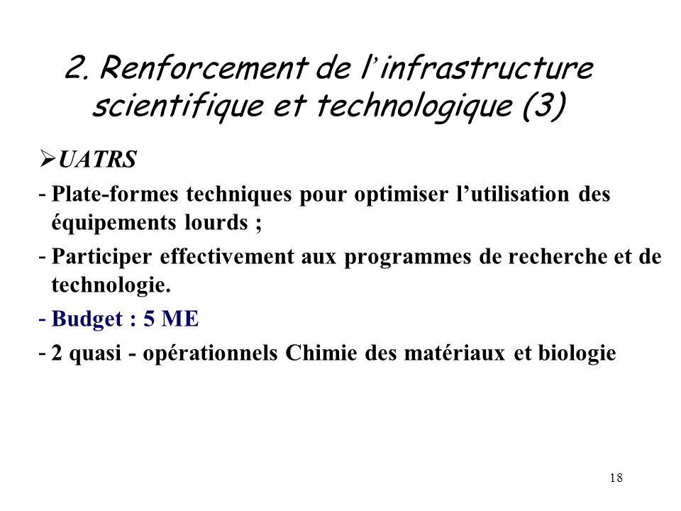 18 2. Renforcement de l ' infrastructure scientifique et technologique (3)  UATRS - Plate-formes techniques pour optimiser l'utilisation des équipeme
