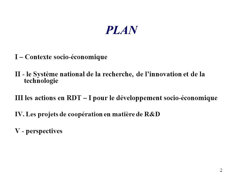 2 PLAN I – Contexte socio-économique II - le Système national de la recherche, de l'innovation et de la technologie III les actions en RDT – I pour le