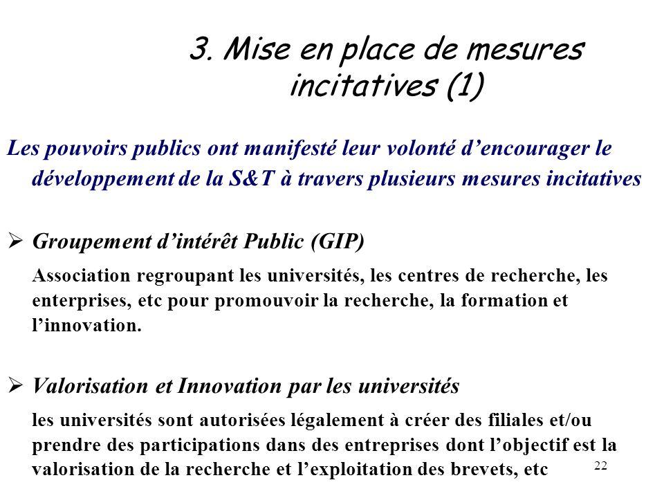 22 3. Mise en place de mesures incitatives (1) Les pouvoirs publics ont manifesté leur volonté d'encourager le développement de la S&T à travers plusi