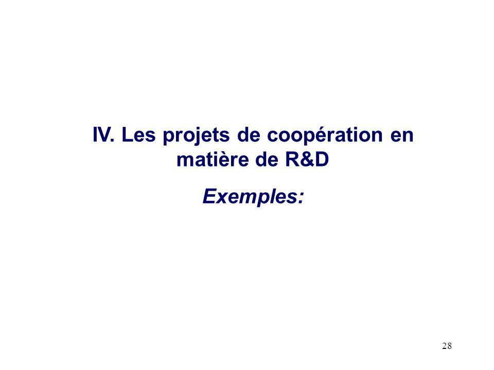28 IV. Les projets de coopération en matière de R&D Exemples: