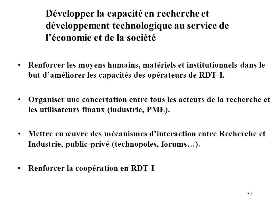 32 Développer la capacité en recherche et développement technologique au service de l'économie et de la société Renforcer les moyens humains, matériel