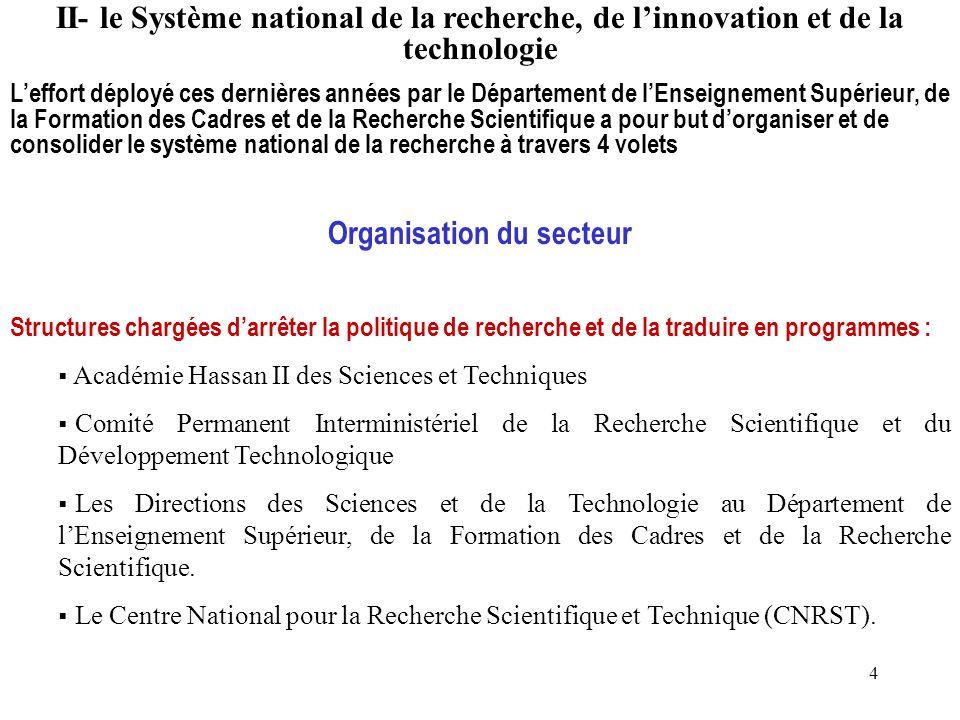 4 II- le Système national de la recherche, de l'innovation et de la technologie L'effort déployé ces dernières années par le Département de l'Enseigne