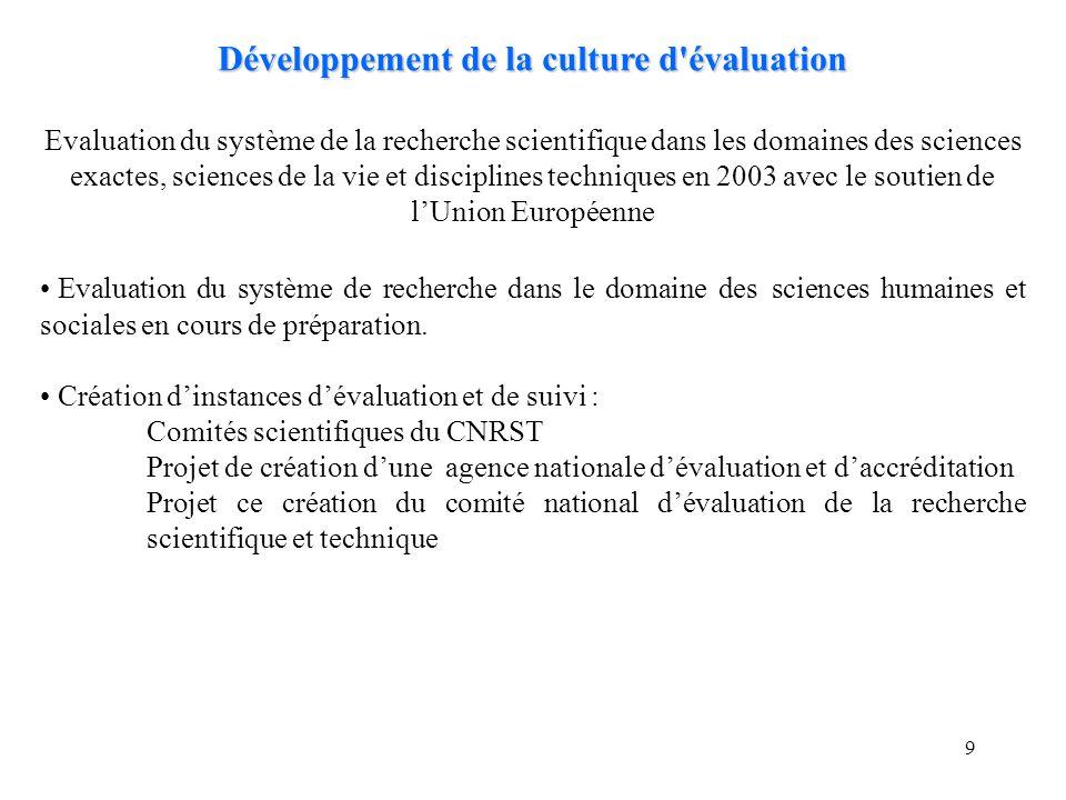 9 Développement de la culture d'évaluation Evaluation du système de la recherche scientifique dans les domaines des sciences exactes, sciences de la v