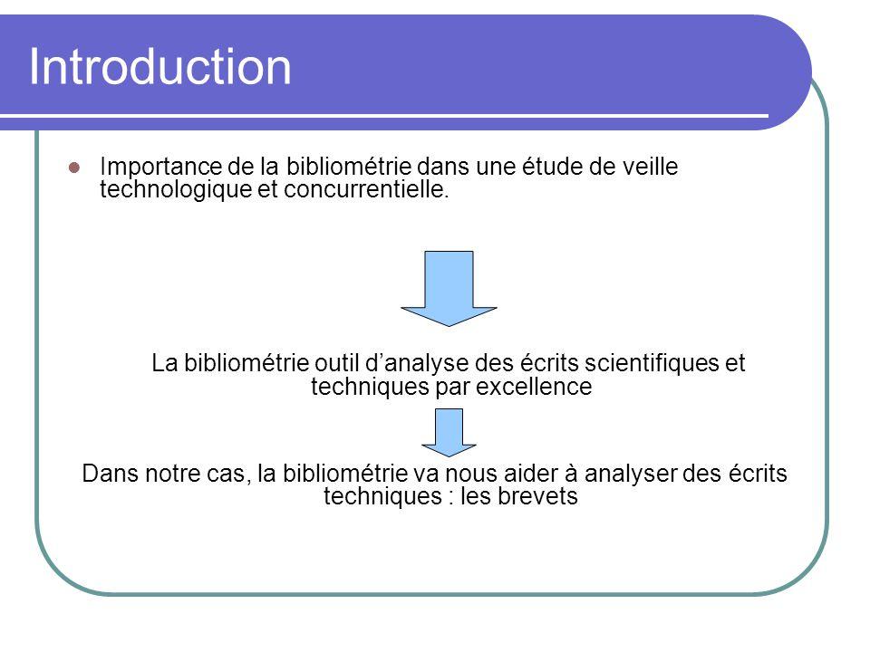Introduction Importance de la bibliométrie dans une étude de veille technologique et concurrentielle. La bibliométrie outil d'analyse des écrits scien