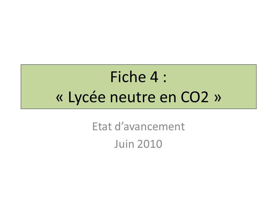 Fiche 4 : « Lycée neutre en CO2 » Etat d'avancement Juin 2010