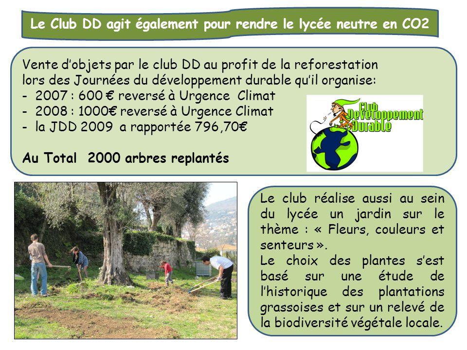 Le Club DD agit également pour rendre le lycée neutre en CO2 Vente d'objets par le club DD au profit de la reforestation lors des Journées du développ