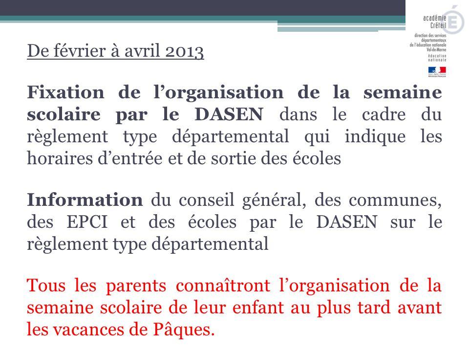 De février à avril 2013 Fixation de l'organisation de la semaine scolaire par le DASEN dans le cadre du règlement type départemental qui indique les h