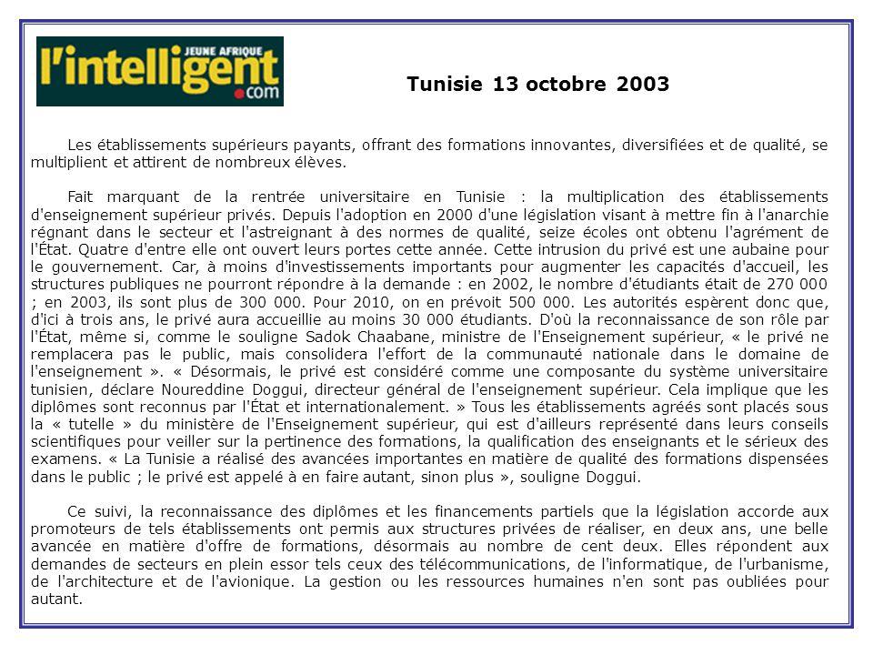 Tunisie 13 octobre 2003 Les établissements supérieurs payants, offrant des formations innovantes, diversifiées et de qualité, se multiplient et attirent de nombreux élèves.