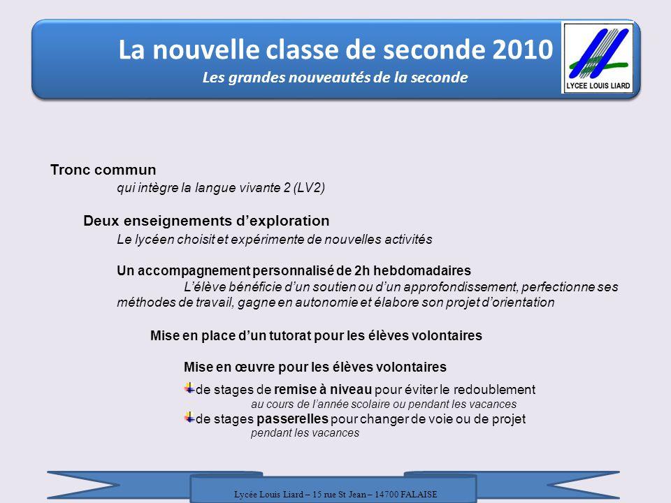 La nouvelle classe de seconde 2010 La nouvelle classe de seconde 2010 / 18 Janvier 2010 / DRONISEP Nice / LR - AT La nouvelle classe de seconde 2010 Horaires de la classe de seconde +10h annuelles de vie de classe Lycée Louis Liard – 15 rue St Jean – 14700 FALAISE