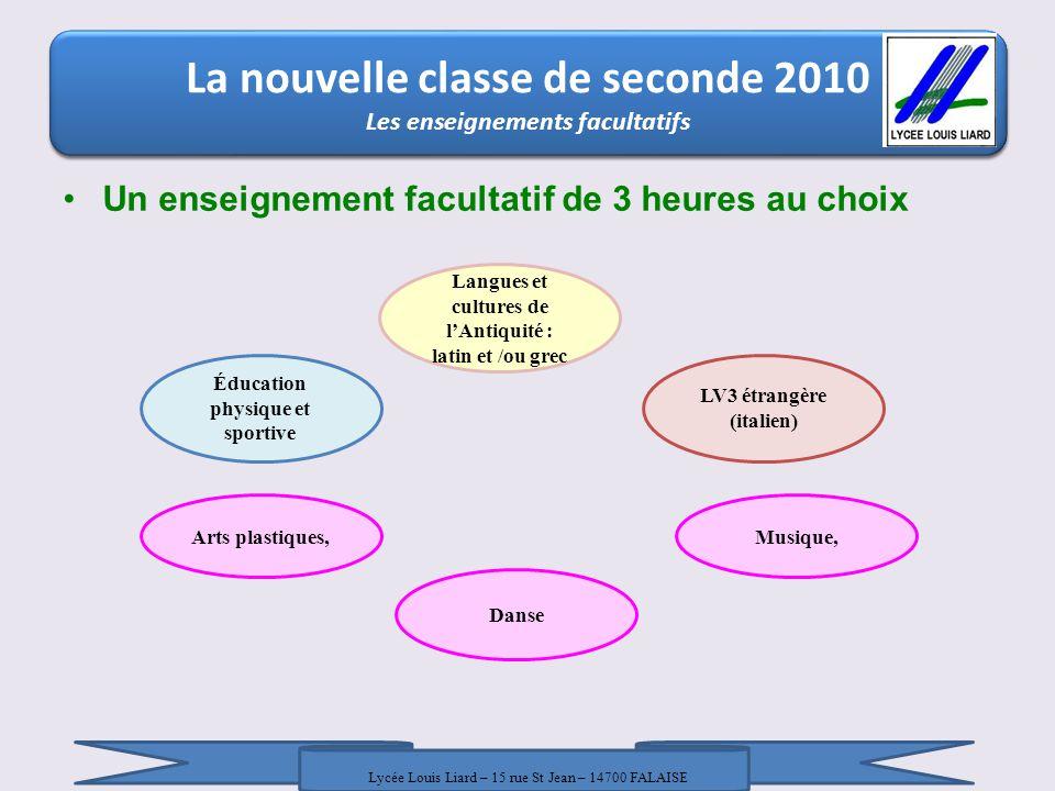 La nouvelle classe de seconde 2010 Un enseignement facultatif de 3 heures au choix La nouvelle classe de seconde 2010 Les enseignements facultatifs La
