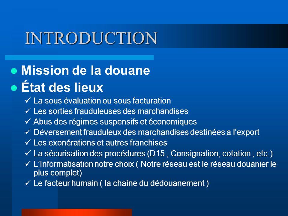 INTRODUCTION Mission de la douane État des lieux La sous évaluation ou sous facturation Les sorties frauduleuses des marchandises Abus des régimes sus
