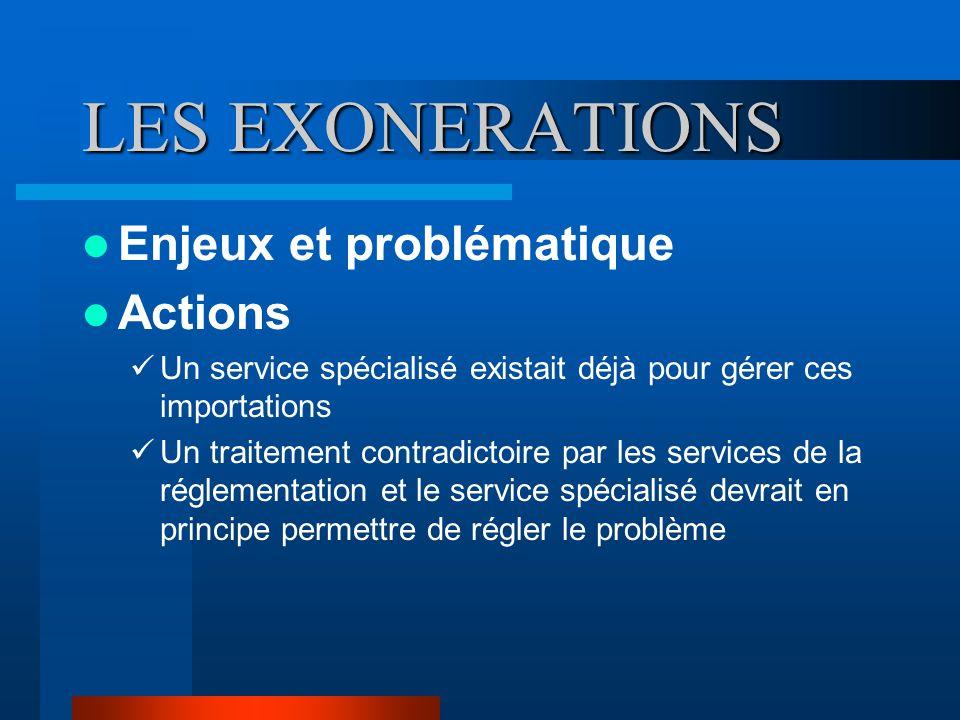 LES EXONERATIONS Enjeux et problématique Actions Un service spécialisé existait déjà pour gérer ces importations Un traitement contradictoire par les