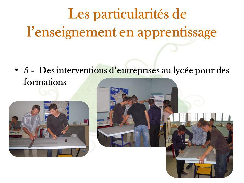 Les particularités de l'enseignement en apprentissage 5 - Des interventions d'entreprises au lycée pour des formations