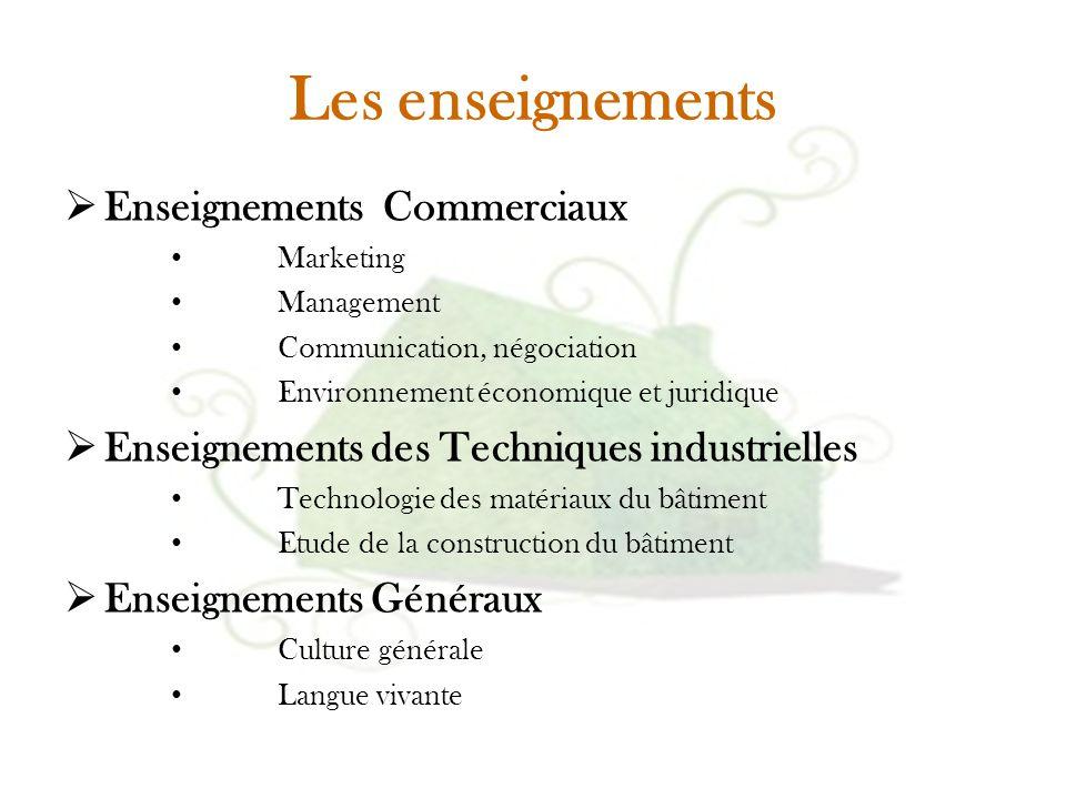 Les enseignements  Enseignements Commerciaux Marketing Management Communication, négociation Environnement économique et juridique  Enseignements de