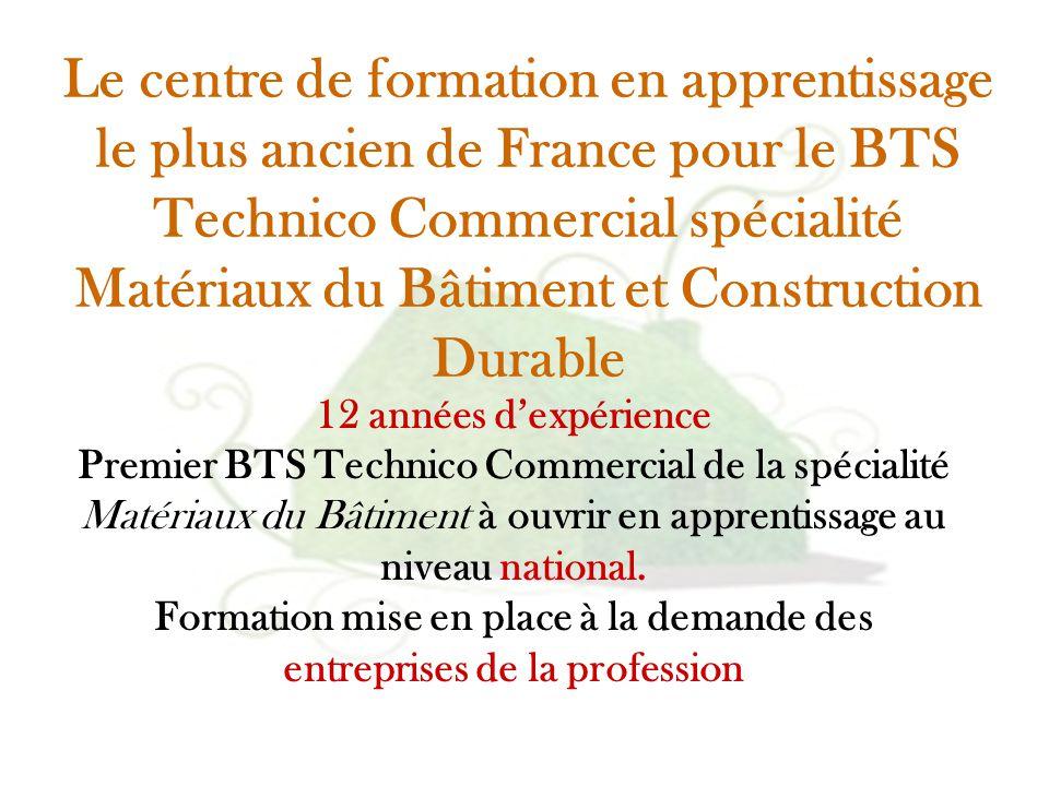12 années d'expérience Premier BTS Technico Commercial de la spécialité Matériaux du Bâtiment à ouvrir en apprentissage au niveau national. Formation