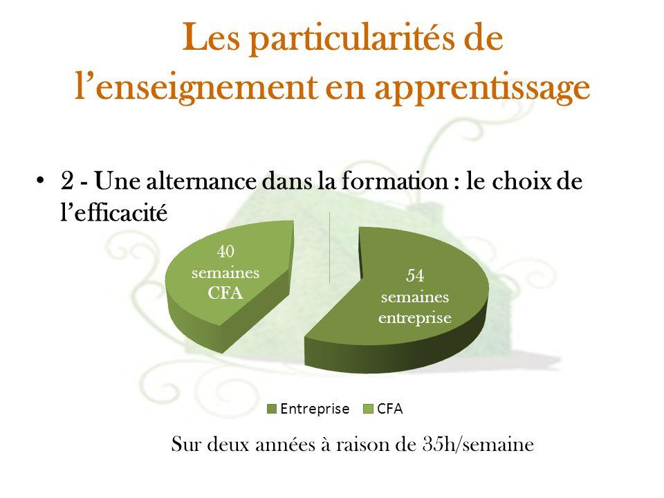 Les particularités de l'enseignement en apprentissage 2 - Une alternance dans la formation : le choix de l'efficacité Sur deux années à raison de 35h/